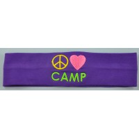 Headband Peace Love Camp Embroidered