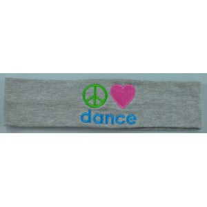 Headband Peace Love Dance Embroidered