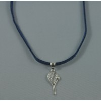 Tennis Racquet Sterling Silver Necklace