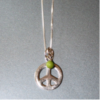 Large Peace Sterling Silver Necklace