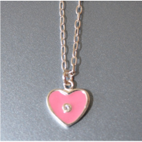 Pink Enamel Sterling Silver Necklace