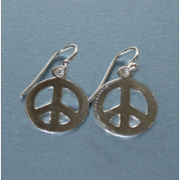 Large Peace Sterling Silver Earrings