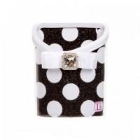 Magnetic Locker Bin- Black & White Polka Dots