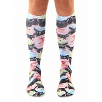 -Printed Knee High Socks- Cupcakes