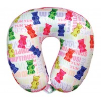 Microbead Travel Neck Pillow- Gummy Bears