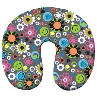 Microbead Travel Neck Pillow- Happy Face & Flowers