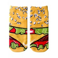 -Printed Socks- Hamburger Cartoon