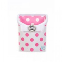 Magnetic Locker Bin White with Pink Dots