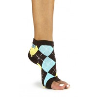 Toeless Socks Brown Argyle