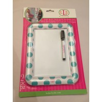 Dry Erase Board - White & Blue Dots