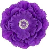 Silk Peony Flower Magnet - Purple