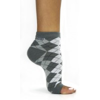 Toeless Socks Grey Argyle