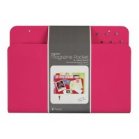 Magnetic Magazine Pocket and Memo Board- Hot Pink