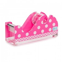 Desktop Tape Dispenser- Pink Dot